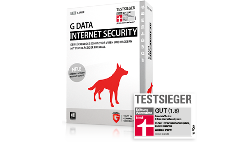 Boxansicht der G DATA INTERNET SECURITY mit Stiftung Warentest Logo